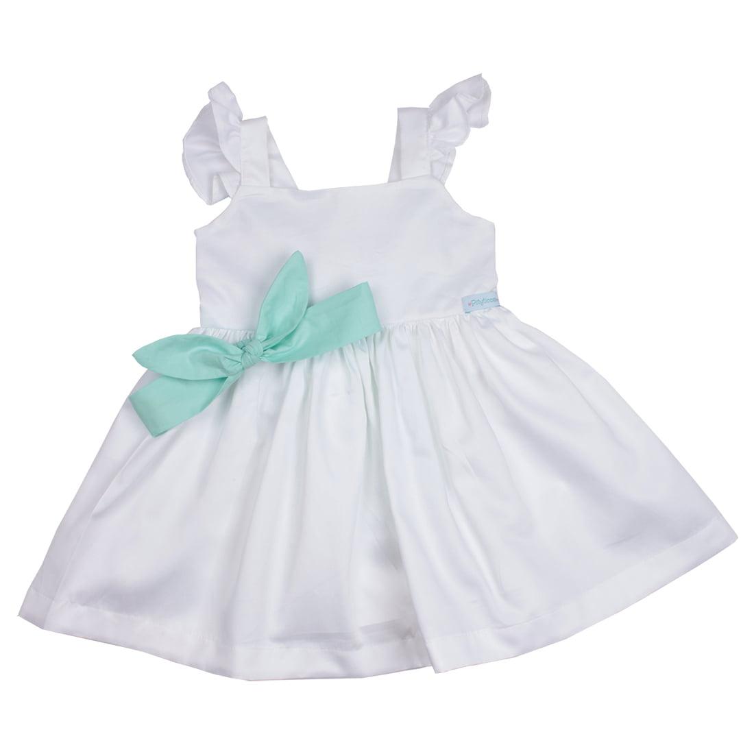 HAPPY NEW YEAR _ KIT VESTIDO INFANTIL BRANCO SOFIA COM VERDE TIFFANY
