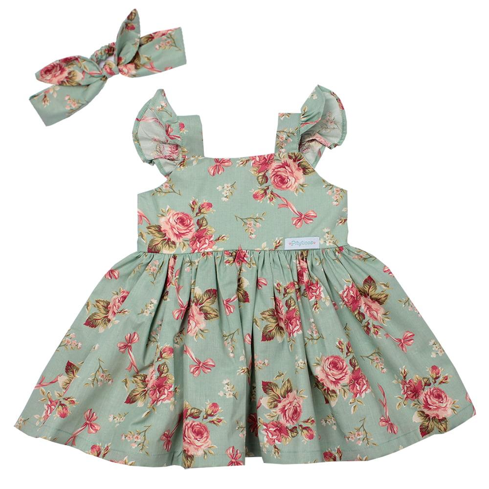 Kit Vestido Infantil Festa Para Menina Floral Verde e Laço Rosa Sofia