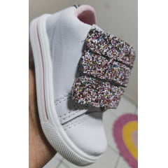 Tênis Branco 3 pontas Glitter