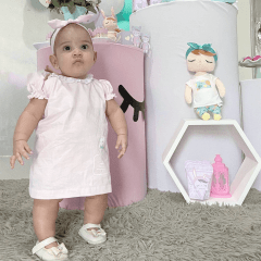 CONJUNTO INFANTIL METOO DOLL ÂNGELA JARDINEIRA ROSA