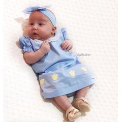 KIT VESTIDO INFANTIL PARA MENINA BONECA METOO AZUL