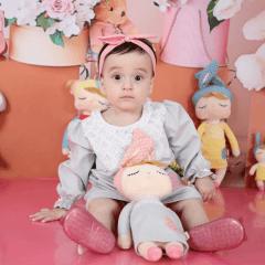 KIT VESTIDO INFANTIL METOO DOLL CINZA MANGA LONGA