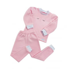 Pijama Ti Soninho Manga Longa e Calça comprida Rosa
