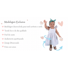 Kit Vestido Infantil Para Menina Branco Algodão Sofia