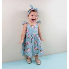 VESTIDO INFANTIL FLORAL AZUL SOFIA